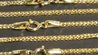 "14k Solid Yellow Gold 1.25 mm Square Wheat Chain Necklace 16"",18"",20"",22"""