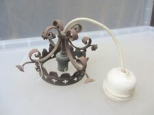 Antique Wrought Iron Ceiling Light Bracket Fixture Gothic Crown Cross Flower