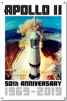 Apollo 11 Lancio 50th Anniversario 1969-2019 Insegna Acciaio 460mm x 300mm (Pst)