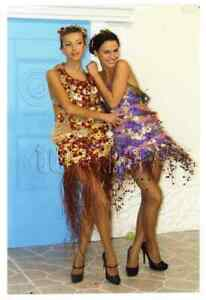 2000s Two Beautiful Young Woman Dress Flowers Bare Legs Close Hug Russian photo
