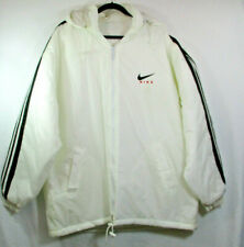 Nike White Ski Jacket Zip Hood Nylon Windbreaker XXL Fleece Lining Men