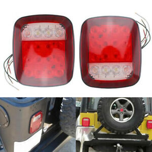 2pcs LED Stop Tail Light Brake Lamp Turn Reverse  For Jeep Wrangler TJ CJ 76-06