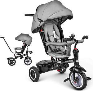 Dreirad 7in1 Kinderdreirad Kinder-Fahrrad Baby Lenkstange Kinderwagen Drehsitz
