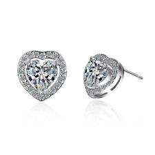 Women's Romantic 925 Sterling Silver Natural Zircon Love Heart Stud Earrings