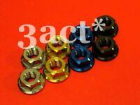 2 pcs Titanium M8 x 1.25 Pitch Flange Bolt Nut Black Color Gold Ti Blue