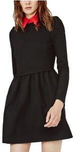 NWT Maje Riri Black Dress with Red Collar Size 1 (Small)
