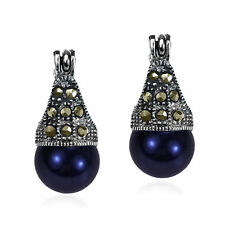 Vintage Flair Marcasite and Created Black Pearl .925 Silver 8mm Earrings