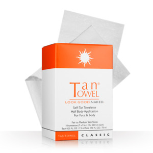 Tan Towel Classic HALF Body Towelettes 10 Pack NEW FAST SHIP