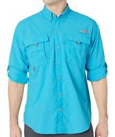 NEW Columbia PFG Bahama II Omni-Shade Vented Long Sleeve Shirt Riptide XS