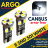 2 ERROR FREE CANBUS 501 8 SMD LED REAR TAIL LIGHT BULBS WHITE XENON T10 W5W 194