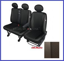Tailored Seat Covers Black Eco-Leather+Cloth Fabric 2+1 Peugeot Boxer