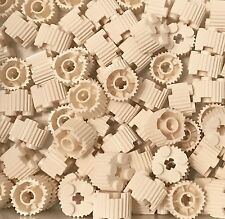 Lego X50 White Round Brick 2x2 With Flutes / Grille And Axle Hole Bulk Parts Lot