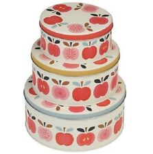 Vintage Retro Cake Tins Set 3 Apple Round Storage Shabby Chic Stacking Baking