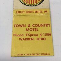 Vintage Matchbook Warren Ohio Town Country Motel Advertisement