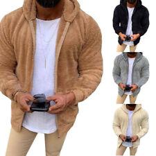 Outerwear Thick Men Fleece Fur Coats Winter Hooded Hoodies Tops Jacket Fluffy