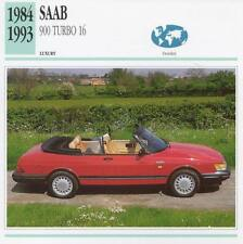 1984-1993 SAAB 900 TURBO 16 Classic Car Photograph / Information Maxi Card