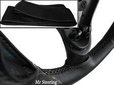 FOR SUZUKI SWIFT MK3 BLACK ITALIAN LEATHER STEERING WHEEL COVER GREY STITCH