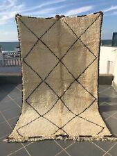 "Moroccan Beni Ourain Rug Carpet Handmade Wool. 5'7"" x 9'2"" Ivory & Dark Brown"