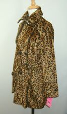 Betsey Johnson Faux Fur Leopard Trench Coat Small NWT