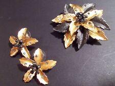 Vintage Joan Rivers Florentine Gold Cactus Flower Pin & Earrings Set