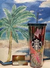 2017 STARBUCKS Summer Venti 24oz Tropical Palm Leaves Cold Cup + Hawaii Card