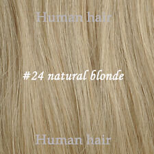 "16""-30"" 7Pcs Clip In/On Remy Human Hair Extensions Straight #24 Natural Blonde"