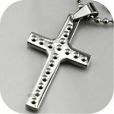 silver cross pendant stainless steel free ball chain necklace