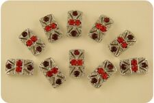 2 Hole Beads Marcasite Tablets Red Siam Swarovski Crystal Elements Sliders QTY10