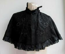 19C. ANTIQUE VICTORIAN LADIES SILK CLOAK WITH GLASS BEADS EMBROIDERY