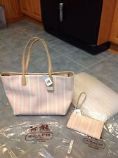Coach Legacy Weekend Ticking Stripe Tote And Matching Zippy Wallet 23108 & 49316