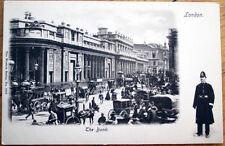 1908 London, England / UK Postcard: Police Officer & 'The Bank'