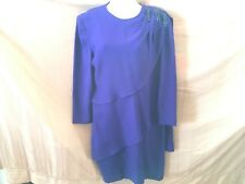 DAYMOR Couture Neiman Marcus Tiered Royal Blue Dress Size 8 LS
