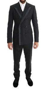 NEW DOLCE & GABBANA Suit Tuxedo Gray Double Breasted 3 Piece EU46 /US36/ S