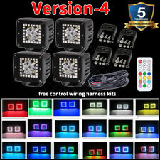 """4x 3"""" 24W Chasing RGB Halo Offroad Truck LED Work Light Bar Spot Pods Remote Kit"""