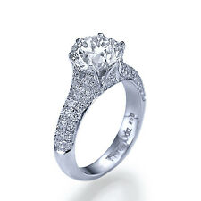 3 Carat Round Cut D SI1 Diamond Solitaire Engagement Ring 14k White Gold