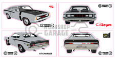 Chrysler Valiant Charger R/T - GREY - Sticker 4 LARGE STICKERS