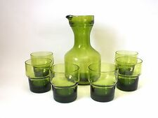 Vintage Retro1970s Green Glass Water Wine Carafe Decanter  & 6 Glasses