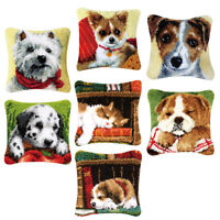 Latch Hook Complete Cushion Cover Kit for Women Embroidery Animals Cat Dog