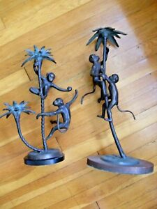 *** VINTAGE TWO  BRASS ? MONKEY CANDLE HOLDERS DECORATIVE GREAT PATINA  ***