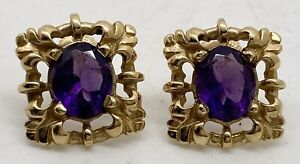 Stunning Artisan Hand Made 14k Yellow Gold Amethyst Filigreed Stud Earrings