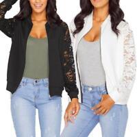 Women Long Sleeve Lace Blazer Casual Jacket Short Coat Bomber Zipper Outwear