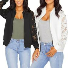 Women Long Sleeve Lace Blazer Casual Jacket Short Coat Bomber Zipper Outwear