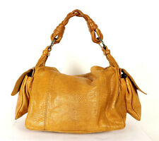 BOTTEGA VENETA Golden Brown Lizard Skin COCKER Braided Handle Hobo Bag