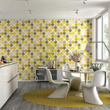 Hotspot Grey and Yellow Circles Wallpaper 1970s Retro Effect Design 805116