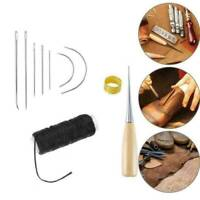 Sewing Needles Stitching Leather Waxed Thread Cord Sew Drilling Awl Thimble UK !