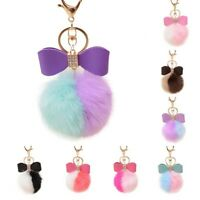 Gold PomPom Car Artificial Keyring Fur Ball Faux Rabbit Keychain Bag Charm