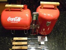NEW COCA COLA SMOKER STYLE PORTABLE BBQ GRILL &  COOLER & UTENSILES & SIGN