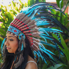 TURQUOISE INDIAN HEADDRESS Chief War bonnet Costume Native American Halloween