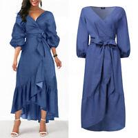 Mode Femme Loose Col V Plissé Frill Manche Longue à lanterne Robe Dresse Plus