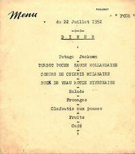 Menu ancien du 22 juillet 1952 diner Paquebot Foch